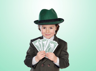 Little businessman with many dolars