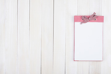 Calendar on white wood background