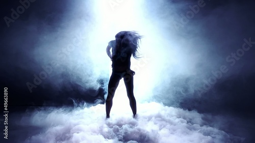 Artistic Dancer Into Dry Ice