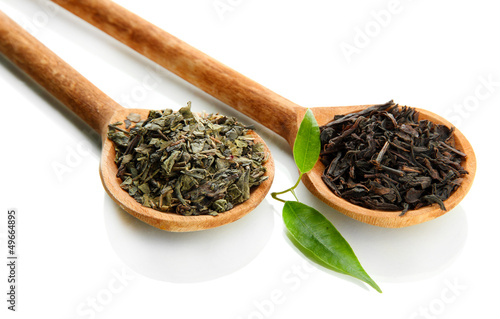 Dry tea with green leaves in wooden spoons, isolated on white