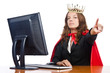 Superwoman worker with crown working in office