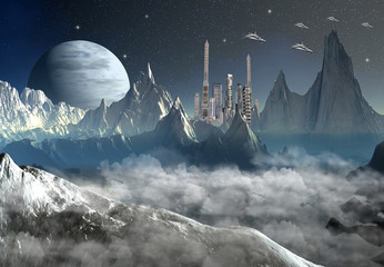 Alien Planet With Buildings