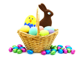 Easter basket filled with colorful eggs and candy