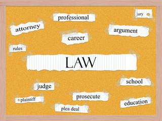Law Corkboard Word Concept