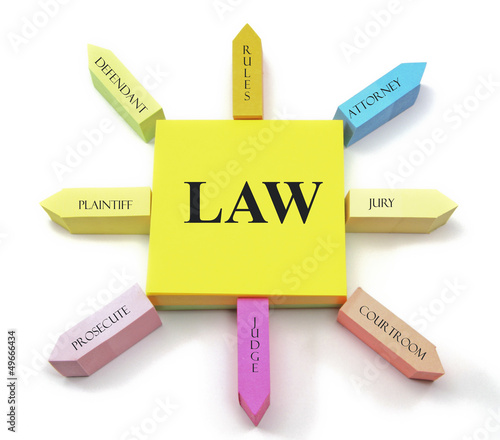 Law concept on Sticky Notes Sun Shape