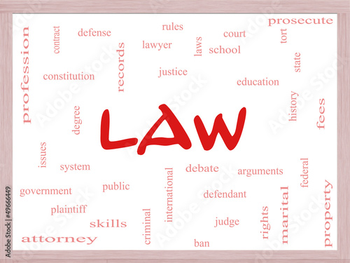 Law Word Cloud Concept on a Dry Erase Board