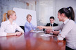 business people making deal at meeting