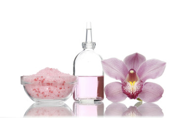 spa set-orchid, massage oil, salt in bowl