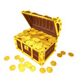 Treasure chest filled with gold coins