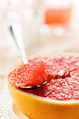 Piece of red grapefruit, citrus dessert
