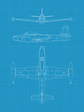 High detailed vector illustration of old military airplane