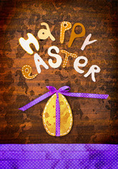 "Easter background with eggs and lettering ""happy easter"""