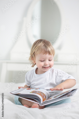 happy boy read book