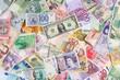 Leinwanddruck Bild - Geldscheine bilden einen Hintergrund