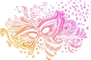 Elegant sketched illustration with carnival mask
