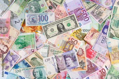 Leinwanddruck Bild Geldscheine bilden einen Hintergrund