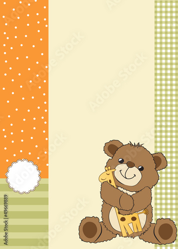 childish greeting card with teddy bear and his toy