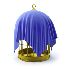 Golden birdcage with blue drape