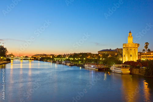 cityscape of Sevilla at night, Spain