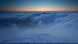 Winter mountain at sunset over clouds - time lapse video