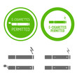 Electronic cigarettes permitted sign with set of icons