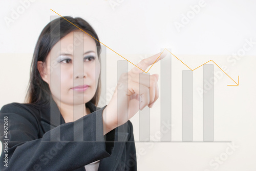 Business lady pressing down graph.