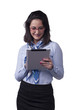 Happy Businesswoman Using Digital Tablet - Isolated