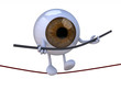 eyeball acrobat who walks on a wire