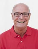 serene senior man smiling poster