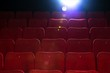 Empty comfortable red seats with numbers in cinema - 49673623