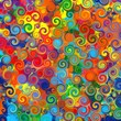Abstract art rainbow circles twirl colorful pattern background