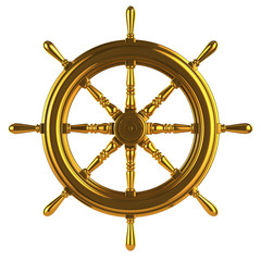 Golden ships wheel front view