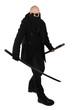 Warrior in black with katana samurai sword