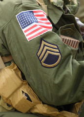 Flag patch on the american battledress from second world war.