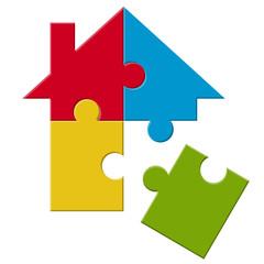 Puzzle Haus mit losem Teil