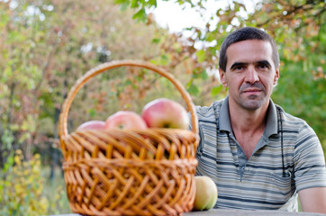 Man with fruit basket
