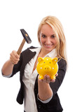 Young woman smashing piggy bank