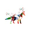 Colorful fox design with butterflies background