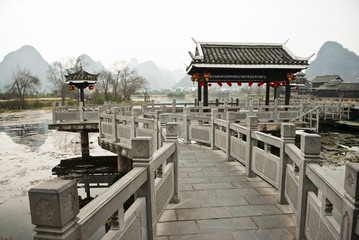 Chinese Traditional Stone Bridge at Shangri-La Guilin, Guilin