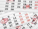 Calendar of important dates