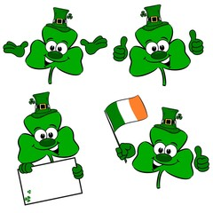 St Patrick's day cartoon clover collection