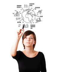 Young woman drawing globe with diagrams isolated on white