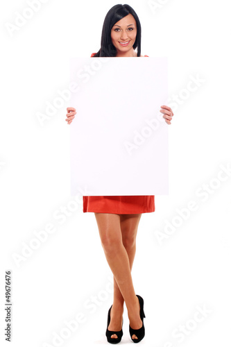Beautiful caucasian woman with board