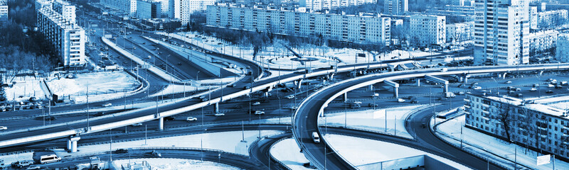road junction in the streets of Moscow