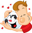 love football - sportsman hugging beloved ball