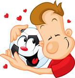 love football - sportsman hugging beloved ball poster