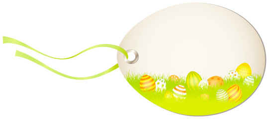 Vertical Hangtag Meadow Easter Eggs Orange/Yellow