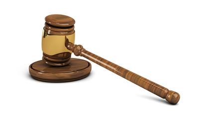 Wooden gavel, legal set on white