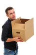 Young guy with cardboard box