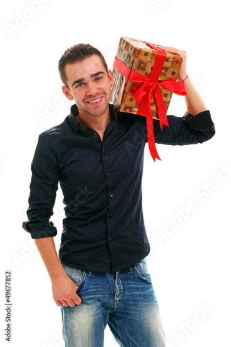 Young handsome guy with present